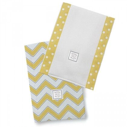 Полотенчики SwaddleDesigns Baby Burpie Set Yellow/Grey Trim Chevron