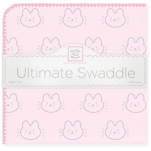 Пеленка фланель для новорожденного SwaddleDesigns Ultimate Bonjour Bunnie Pink