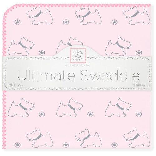 Пеленка фланель для новорожденного SwaddleDesigns Ultimate Gray Doggie Pink