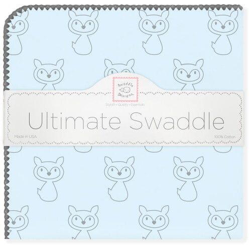 Пеленка фланель для новорожденного SwaddleDesigns Ultimate Gray Fox Pstl Blue