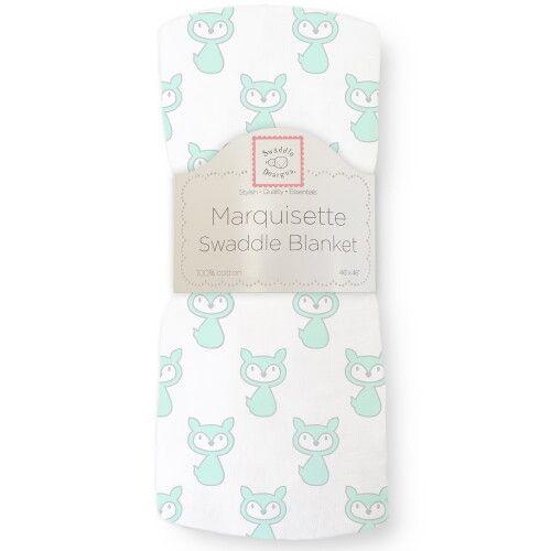 Пеленка детская тонкая SwaddleDesigns Маркизет Little Fox Pstl SeaCrystal