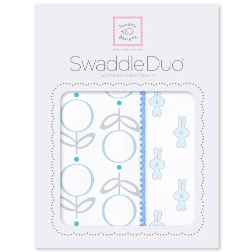 Набор пеленок SwaddleDesigns Swaddle Duo Blue Little Bunnie