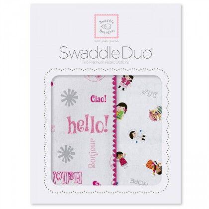 Набор пеленок SwaddleDesigns Swaddle Duo Pink Hello SW